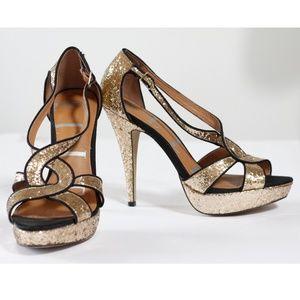 Elle Gold Glitter High Heel Sandals 9